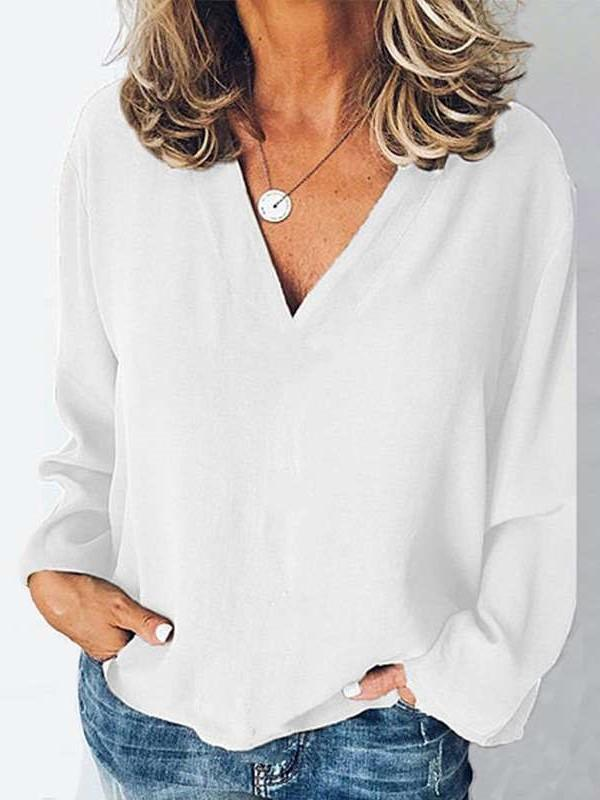 Fashion Casual Pure V neck Long sleeve T-Shirts