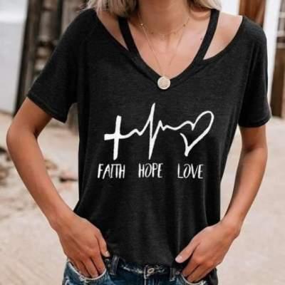 Fashion Loose V neck Print T-Shirts