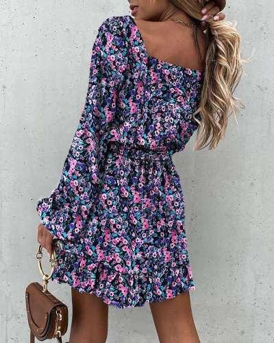 Fashion Print Square collar Long sleeve Falbala Skater Dresses
