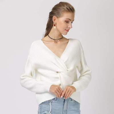Snarls Pure V neck Knit Long sleeve Sweaters