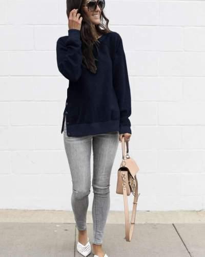 Fashion Round neck  Fastener Long sleeve Sweatshirts