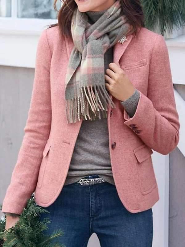 Plain Work Pockets Solid Blazer Plus Size Short Coats