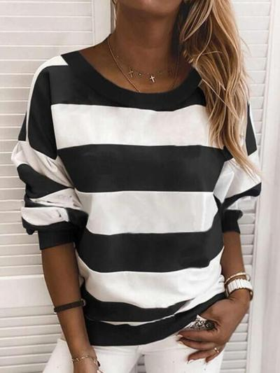 Fashion Casual Round neck Stripe Long sleeve T-Shirts