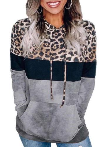 Fashion Leopard print Gored Long sleeve Hoodies Sweatshirts