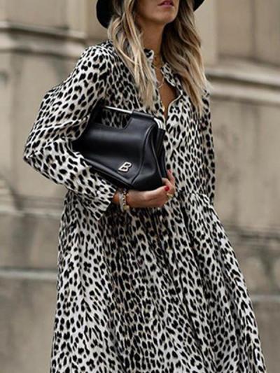 Fashion animal printed long-sleeved maxi dresses