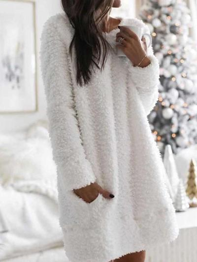 Fashion Casual Round neck Long sleeve Plush Pocket Shift Dresses