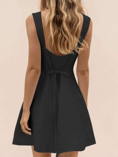 Casual Pure Square collar Vest Sleeveless Shift Dresses