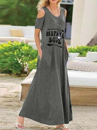 Fashion Off shoulder Round neck Big Hem Maxi Dresses