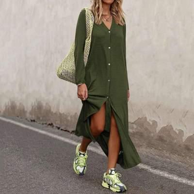 Fashion Loose V neck Long sleeve Pure Blouse Maxi Dresses