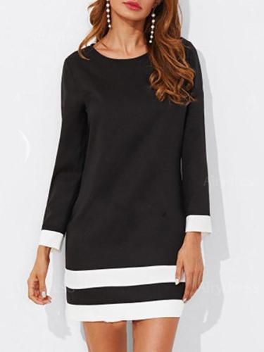 Round Neck Color Block Striped Shift Dress