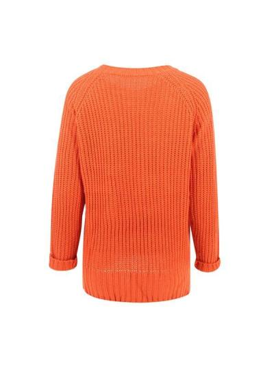 Orange basic round neck long sleeve women sweaters