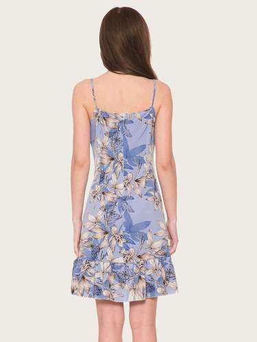 Sexy Print One shoulder Vest Skater Dresses