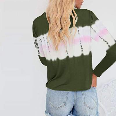 Fashion Casual Tie-dyed Round neck Fastener Long sleeve T-Shirts