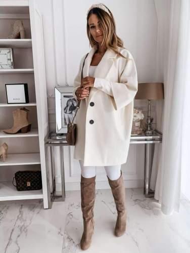 Fashion Casual Pure Lapel Three quarter sleeve Trench Coats