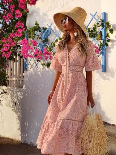 Women fashion lace v neck maxi dresses
