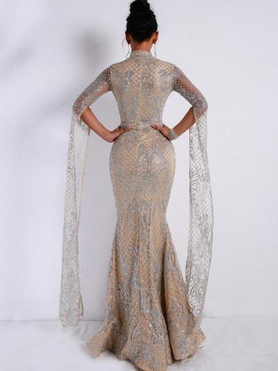 Sexy elegant women round neck long evening dresses