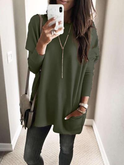 Casual Round Neck Long Sleeve Plain pockets T-Shirts