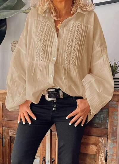 Fashion Casual Pure Lapel Puff sleeve Fold Blouses