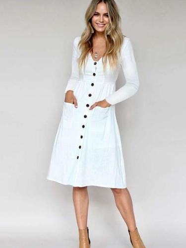 Fashion V neck Fastener Long sleeve Skater Dresses