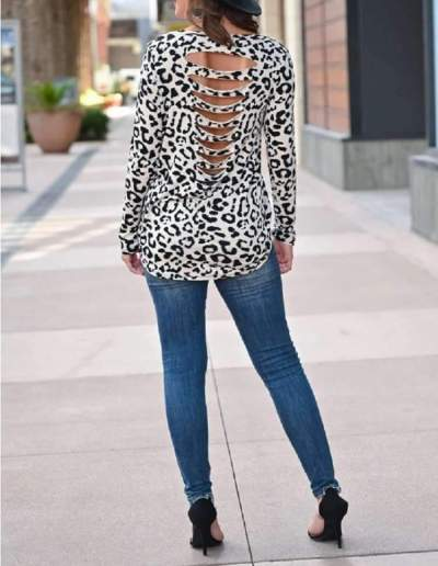 Fashion Print Round neck Long sleeve Backless T-Shirts