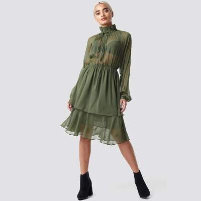 Fashion Lacing Long sleeve Chiffon Skater Dresses