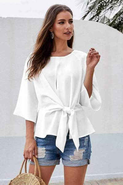 Pure Loose Snarls Round neck Blouses