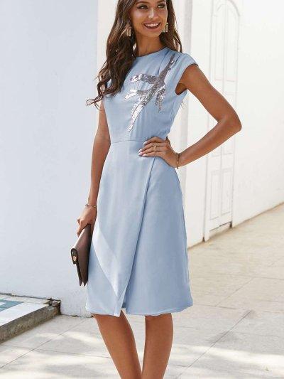 Fashion Round neck Sequin print Skater Dresses