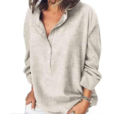 Casual Pure Long sleeve Stand collar Blouses
