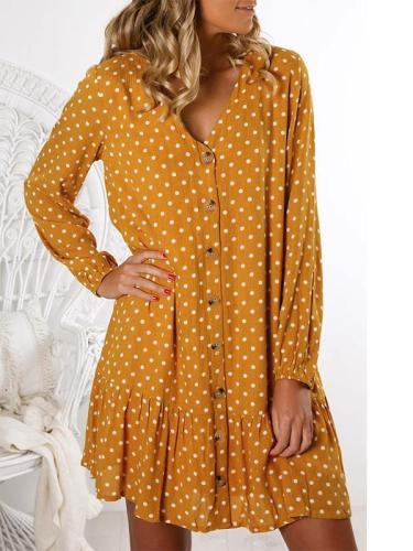 Loose wave dot long sleeve Shift Mini dresses