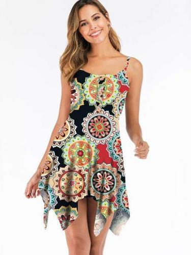 Fashion Sleeveless Round neck Irregular Vest Shift Dresses
