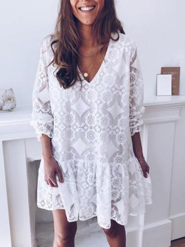 Lace V Neck Printed White Fashion Shift Dresses
