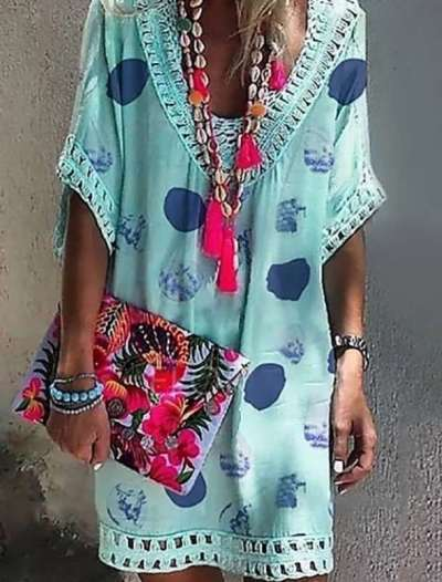 Casual Print V neck Hollow out Short sleeve Shift Dresses