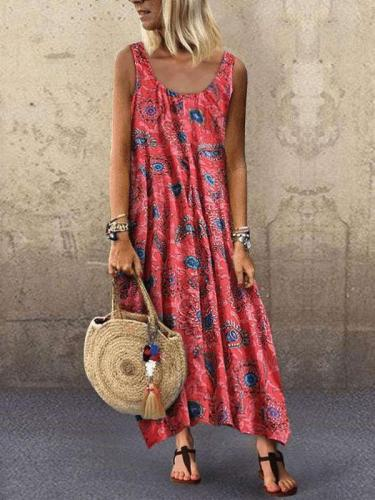 Fashion Print Vest Round neck Maxi Dresses