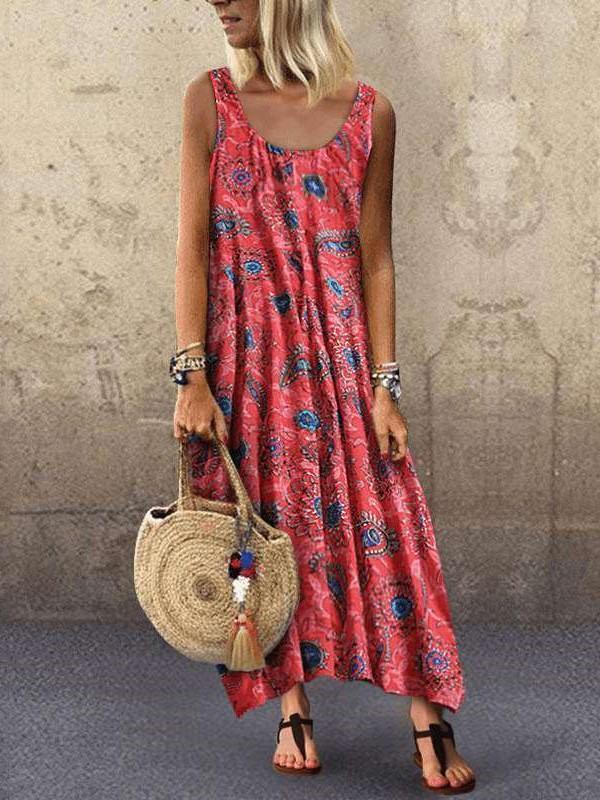 Fashion Print Vest Round neck Maxi Dresses