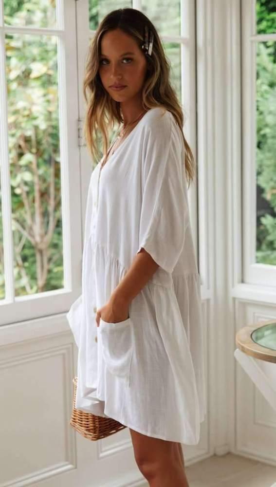 Pure V neck  Fastener Shift Dresses