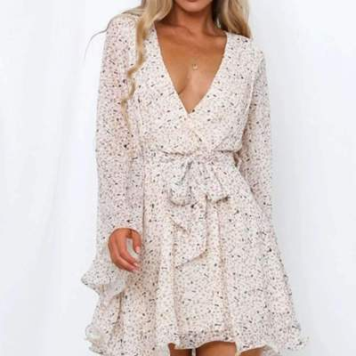 Fashion Point print V neck Long sleeve Lacing Skater Dresses