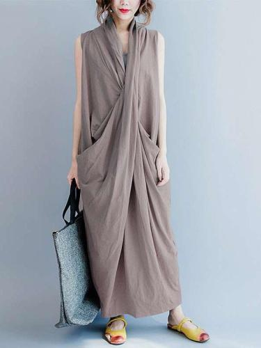 Fashion Loose Cotton Sleeveless V neck Irregular Maxi Dresses