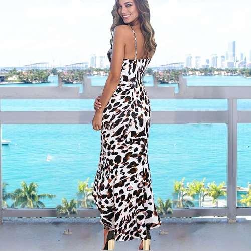 Sexy Leopard print V neck Vest  Fishtail Bodycon Dresses