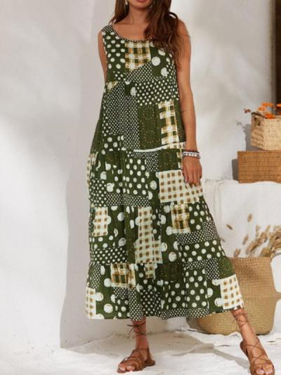 Vintage Printed Round Neck Long Maxi Dresses