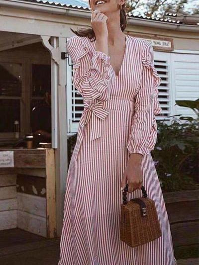 Fashion V-neck stripe waisted long maxi dresses