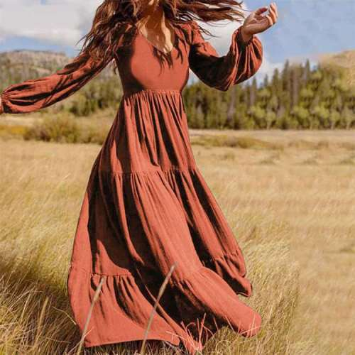 Fashion Casual Pure Gored V neck Long sleeve Maxi Dresses