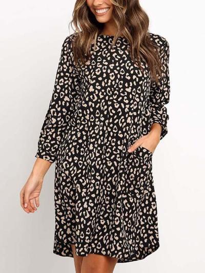 Fashion leopard pronted women shift dresses