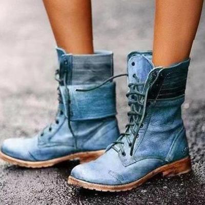 Women round toe PU tie high boots
