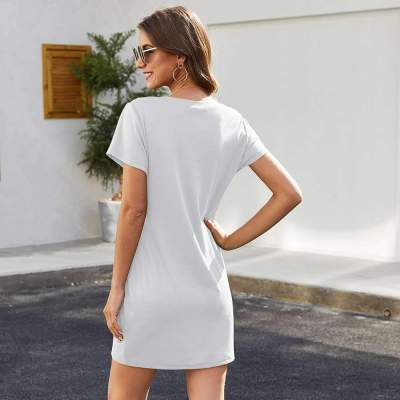 Fashion Round neck Short sleeve Zipper Shift Dresses