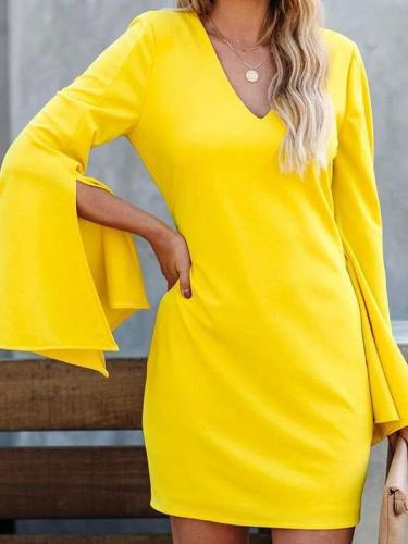 Pure V neck Long sleeve Shift Dresses