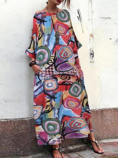 Printed cotton and linen Blend round collar maxi dresses