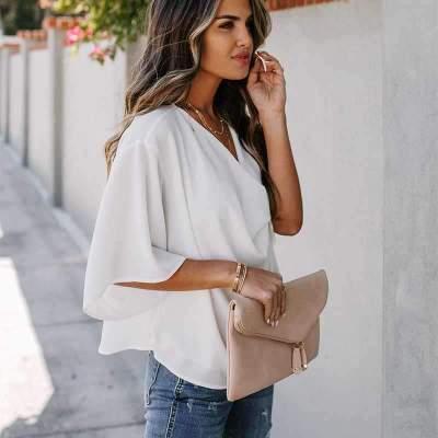 Fashion Casual Pure V neck Half sleeve Blouses