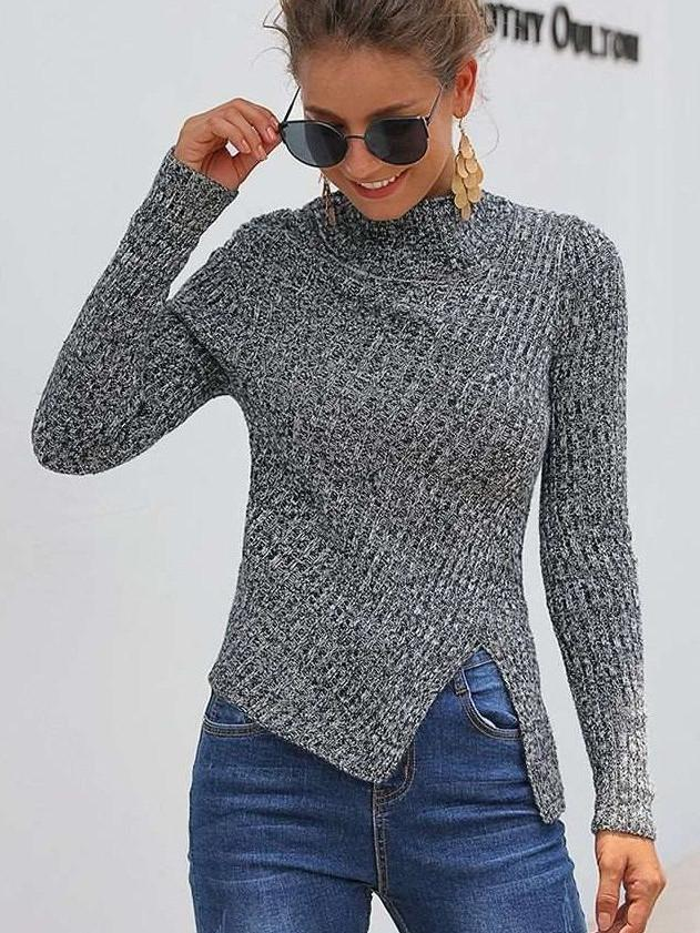Fashion Stripe Stand collar Vent Long sleeve Knit Sweaters