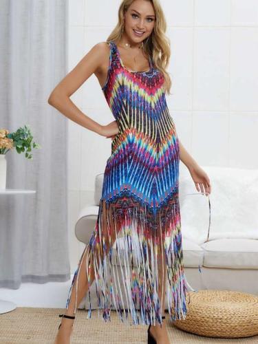 Sleeveless Floral Tassels Beach Maxi Dresses