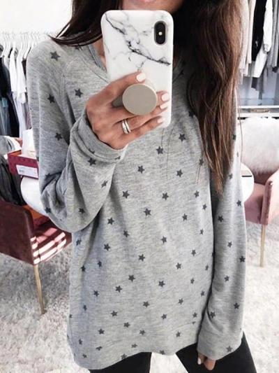Star printed long sleeve T-shirt tops